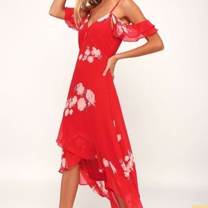 Lulus Love in Bloom Red Floral High-Low Dress